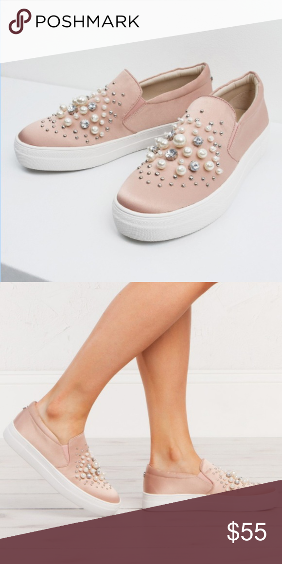 cc810a53c4b Steve Madden Glamour Pink Pearl Beaded Sneakers Retail  90 Steve Madden  Pink Satin Slip On Tennis