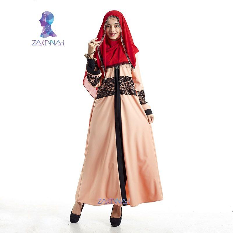 38d62c1d3a4a7 New fashion women's maxi long sleeve long dress lace kaftan Islamic ...