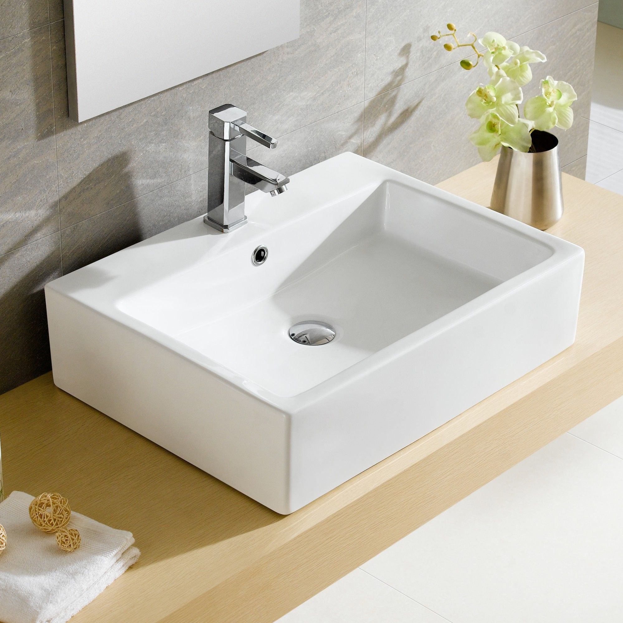 Modern Ceramic Rectangular Vessel Bathroom Sink With