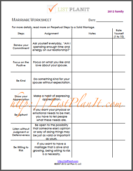 Worksheets For Marriage : Marriage help worksheet list of perpetual steps to a