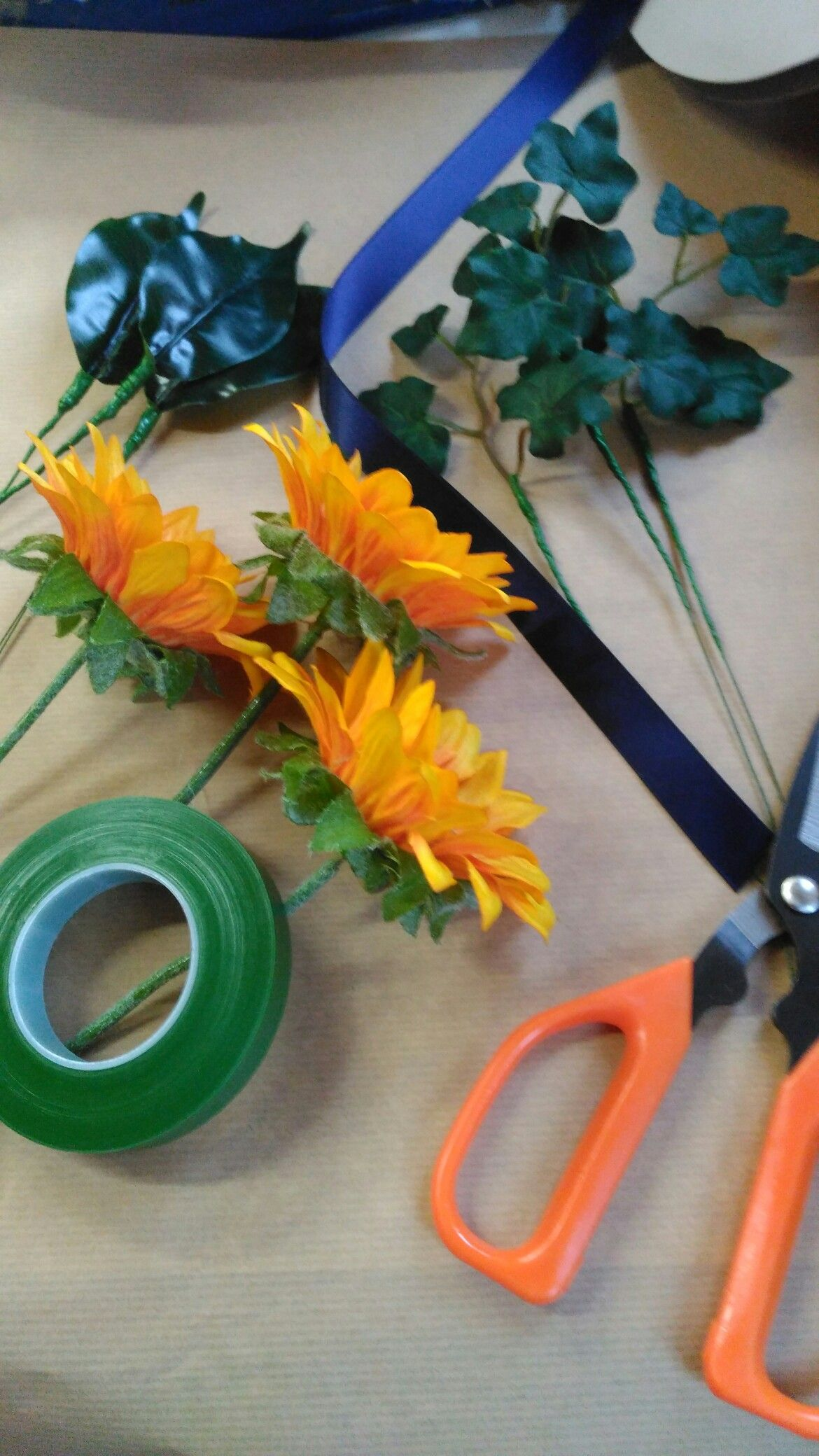 Just Preparing To Make Silk Sunflower Buttonholes With A Navy Blue
