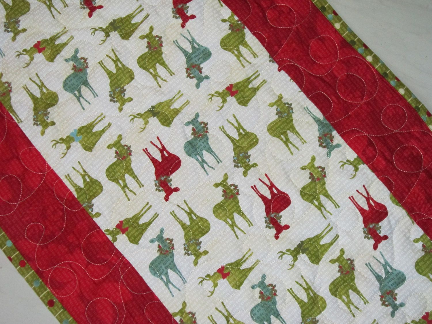 Christmas Table Runner Quilted Modern Reindeer Table Linens ... : quilted table linens - Adamdwight.com