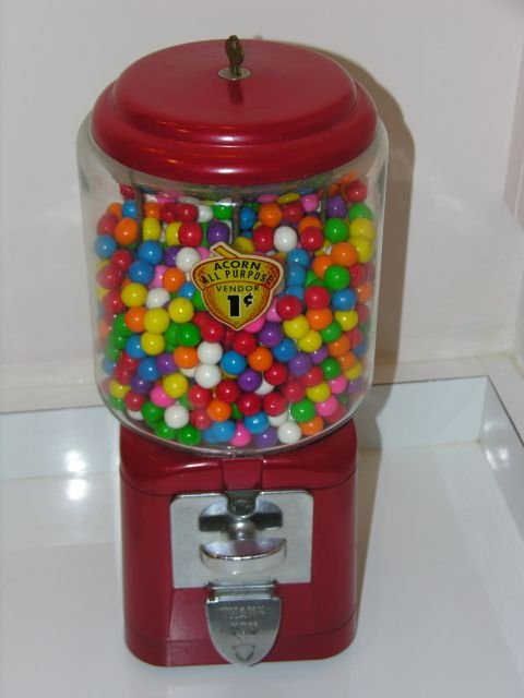 Gumball machines -- with gum for a penny! Description from ...