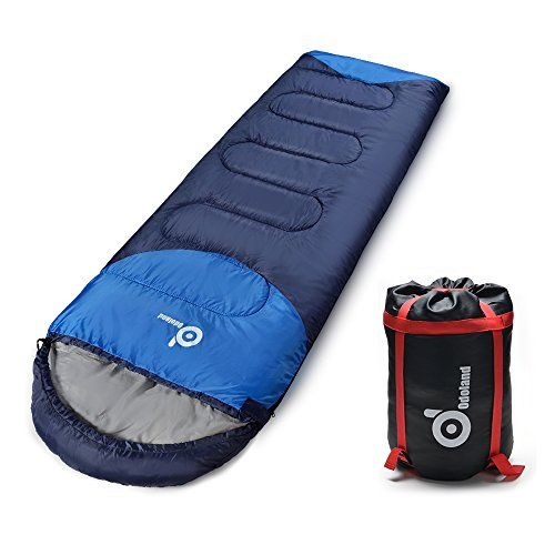 ODOLAND Cool Weather Waterproof Windproof Envelope Sleeping Bag with Compression Bag  Comfort Lightweight Portable Camping Gear for Outdoor Hiking Traveling and Survival -- For more information, visit image link.