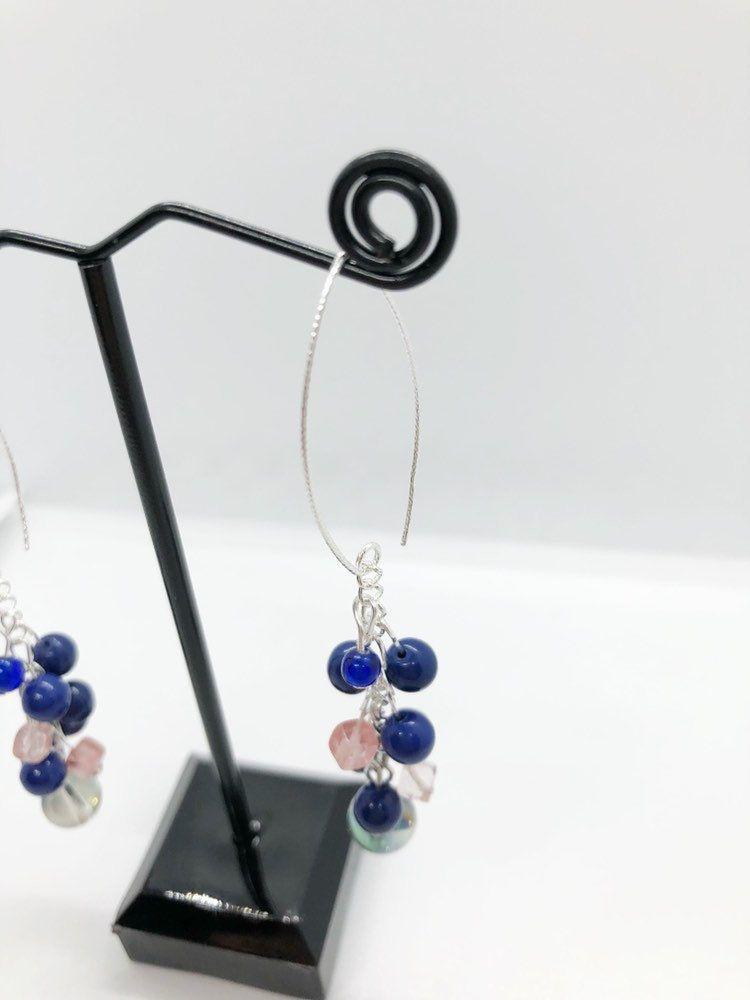 Navy Blue And Pink Beaded Chandelier Earrings Etsy Beaded Chandelier Earrings Etsy Earrings Dangle Beaded Chandelier