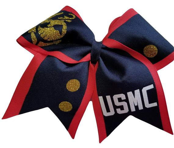 Marine Corps Dress Blues Hair Bow Cheer bows U.S