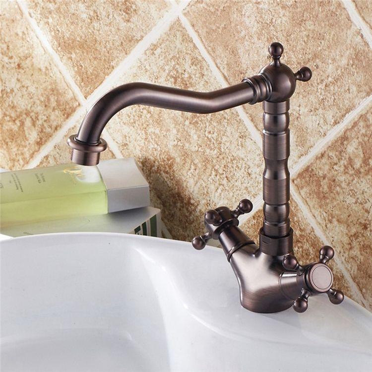 洗面水栓バス水栓浴室蛇口冷熱混合栓立水栓2ハンドル水道蛇口舵型ハンドル