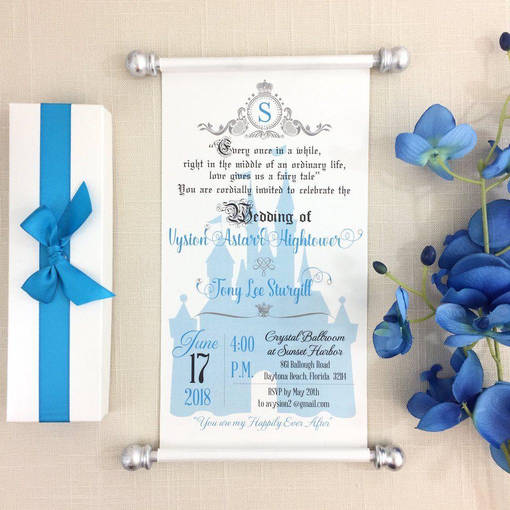 Royal Wedding Scroll Invitation Cinderella Blue Silver In 2019