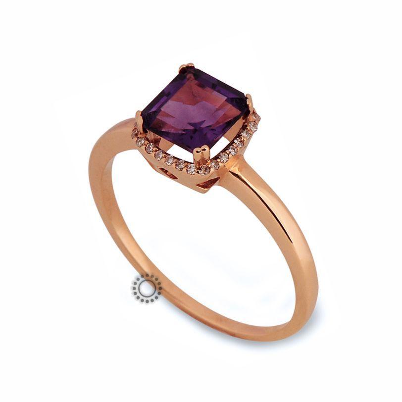 Μοντέρνο μονόπετρο δαχτυλίδι από ροζ χρυσό Κ18 με τετράγωνο αμέθυστο  amp   διαμάντια  69b56b2a152