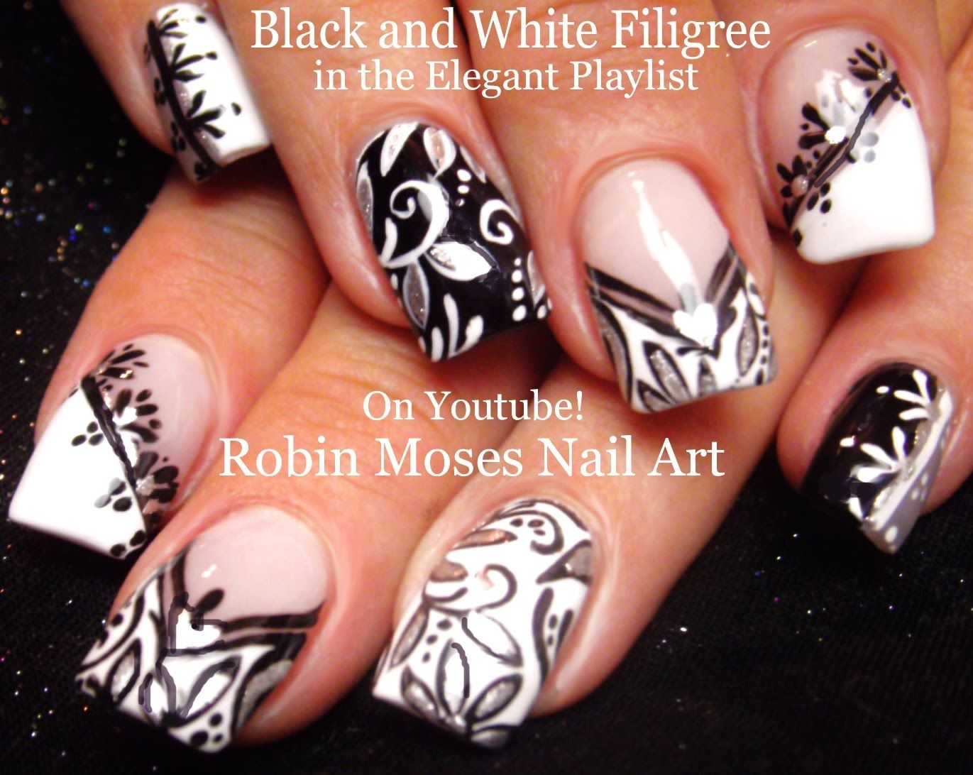 Nail Art Diy Black And White Nails Fun Filigree Design Tutorial