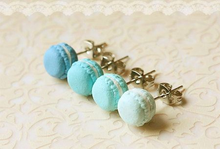 Macaron earrings!! (By miniaturepatisserie on Etsy) These are all in blue, but I'll pin the purple ones soon :)