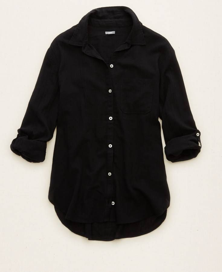 26a658a623df0 Aerie Oversized Button Down Shirt, Women's, True Black | MOVING ...