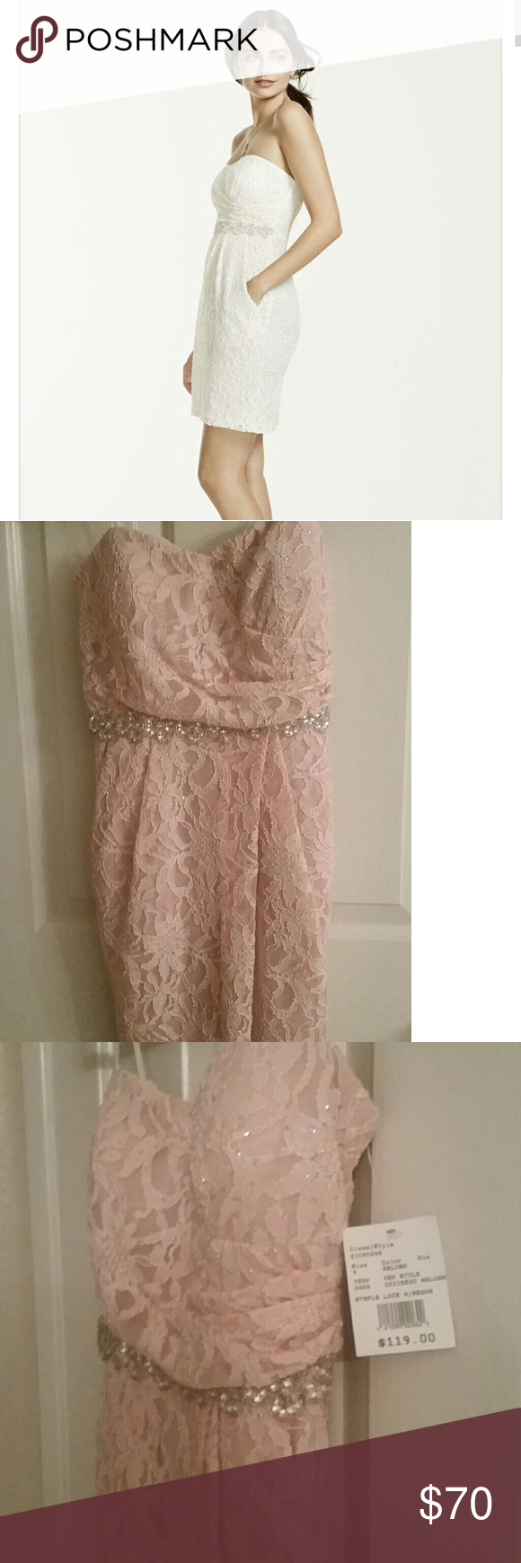 Pink wedding dress short in front long in back  Special occasion dress NWT  Davids bridal dresses