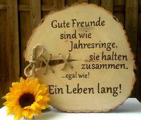 Gastgeschenke - Holzbaumscheibe Freunde Bester Freund Guter Freund - ein Designerstück von Atelier-Maeurer bei DaWanda #holzscheibendeko