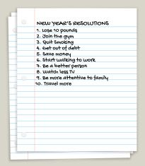 New Year's Resolutions on White Looseleaf Paper vector art illustration