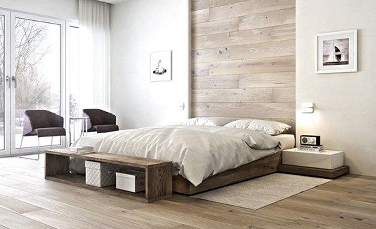 Slaapkamer houten vloer en muur | Bedroom | Pinterest | Bedrooms and ...