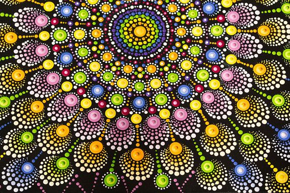 Fireworks Mandala original dot art painting acrylic on