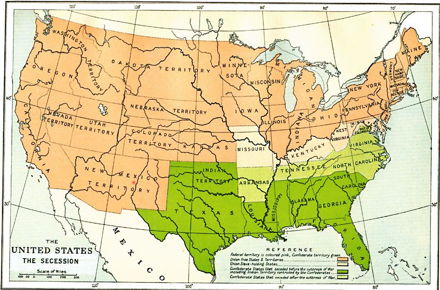 The United States Secession Civil War Studies Pinterest - Map of the us during civil war