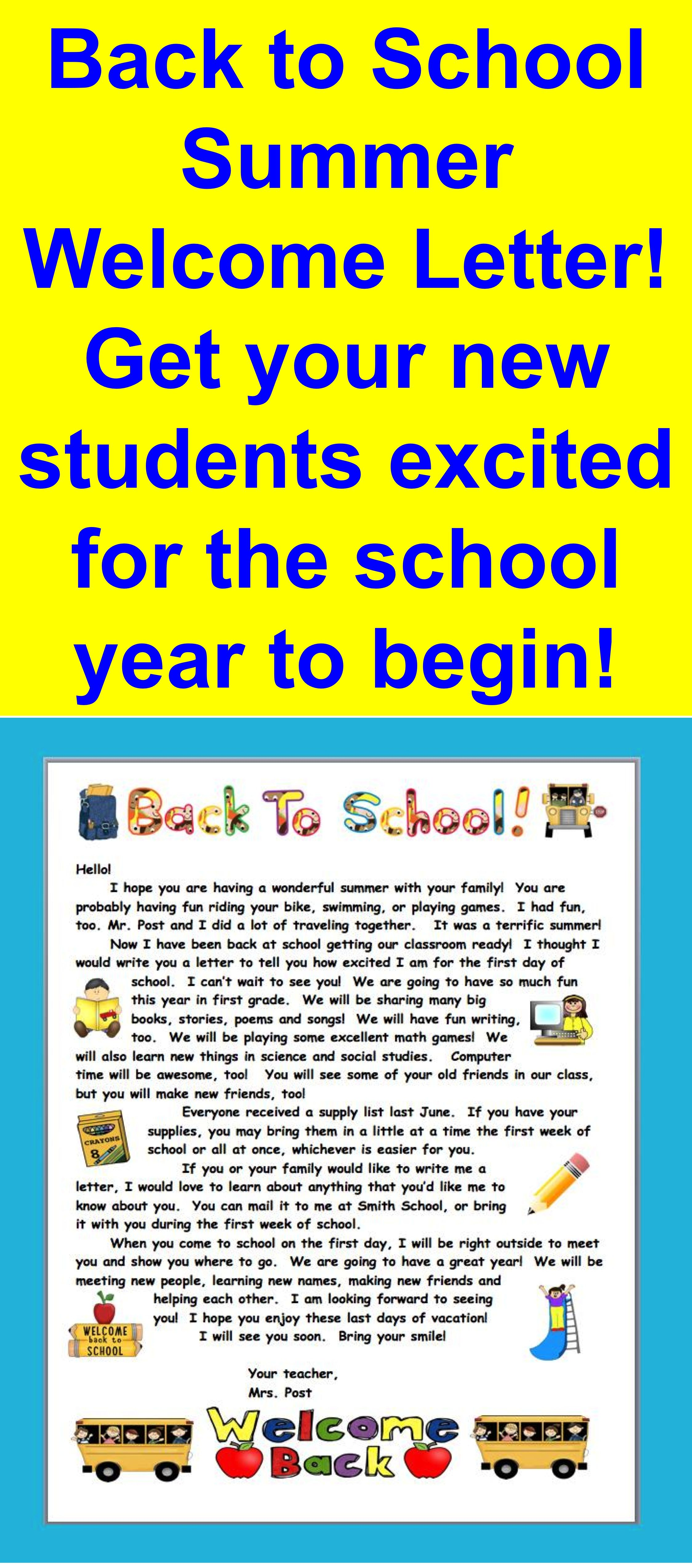 Summer Welcome Letter For Primary Grades