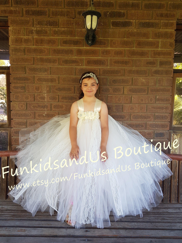 Ivory Flower Girl Dress Vintage Lace Flower girl Tutu ...  Ivory Lace Vintage Flower Girl Dress