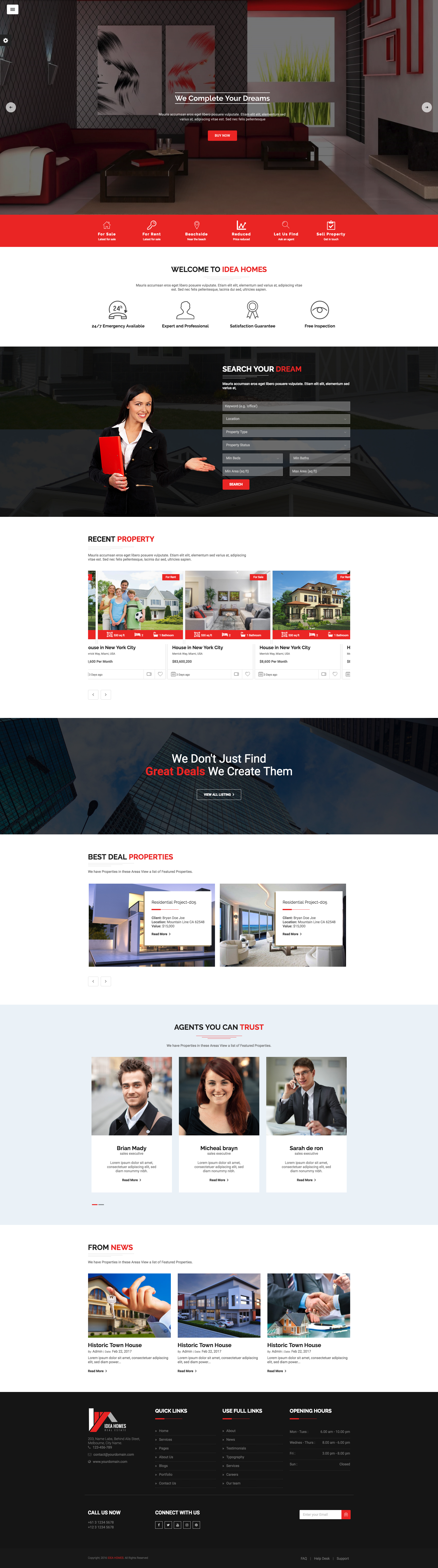 Idea Home Real Estate Bootstrap Template. It is best suited for Real ...