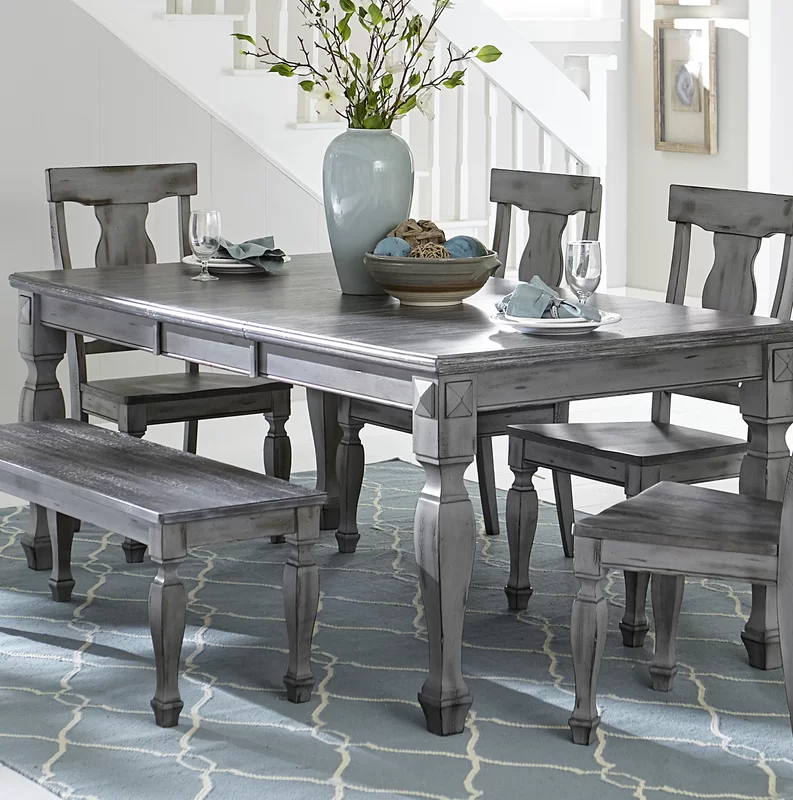 One Allium Way Kara Extendable Solid Wood Dining Table Wayfair In 2020 Grey Dining Tables Wood Dining Table Grey Dining Room