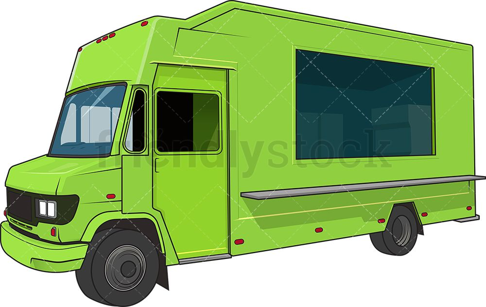 Green Food Truck With Images Cartoon Clip Art Clip Art