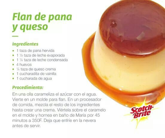 Flan de pana y queso flanes pinterest flan antojo y postres - Flan de huevo sin horno ni bano maria ...