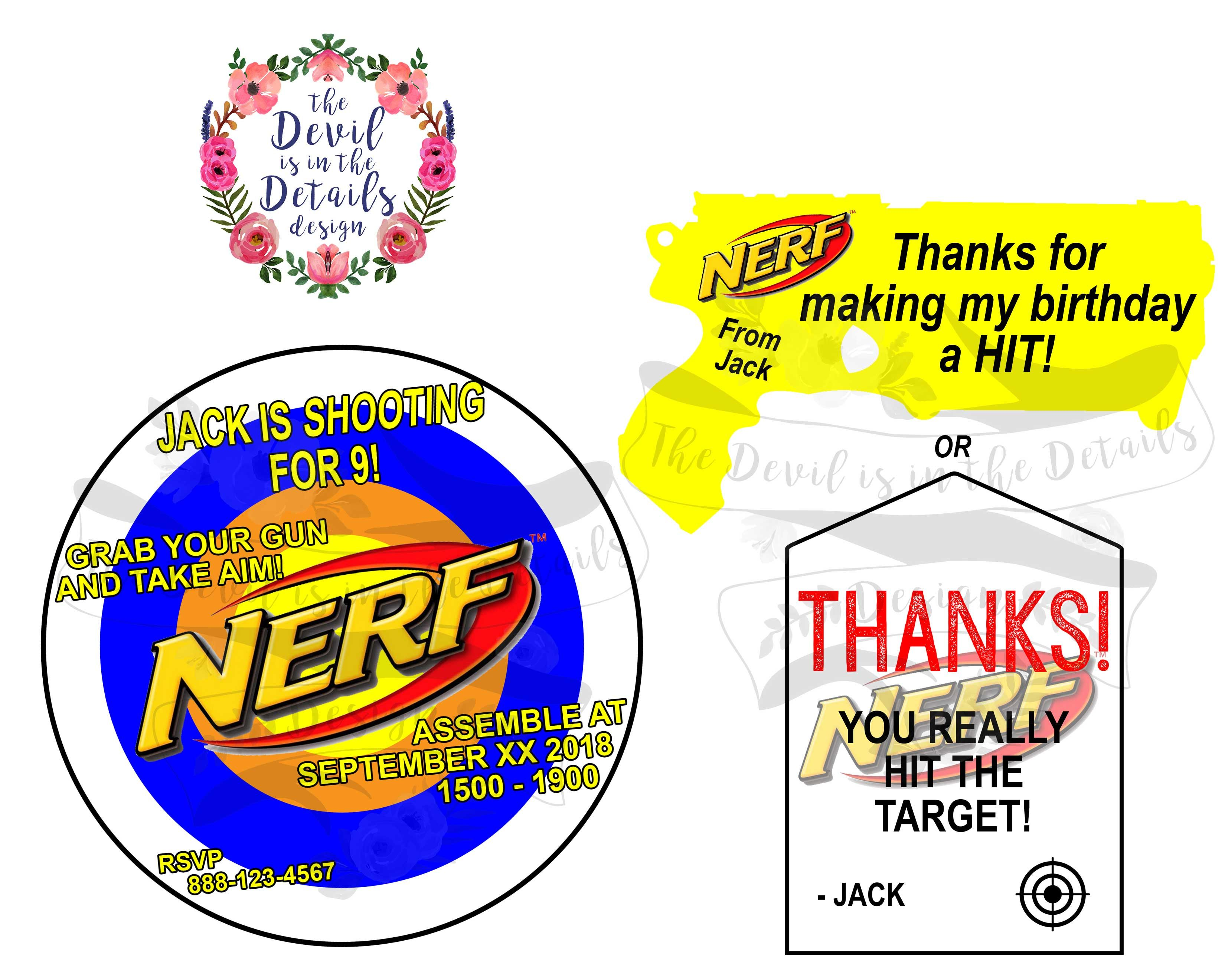 Nerf Birthday Party Invitation and Thank You Card Contact us on