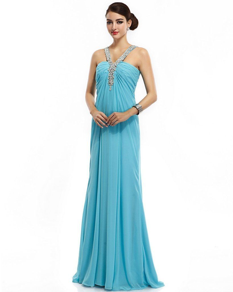 Joyvany beaded halter cocktail dresses open back chiffon long