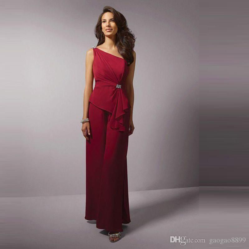 Actual Photo Burgundy Mothers Pants Suit For Wedding Bridal Mother