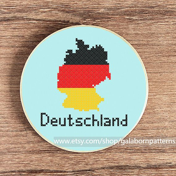 Germany map - Modern counted cross stitch pattern PDF - Deutschland - Flag on Etsy, $4.54 CAD