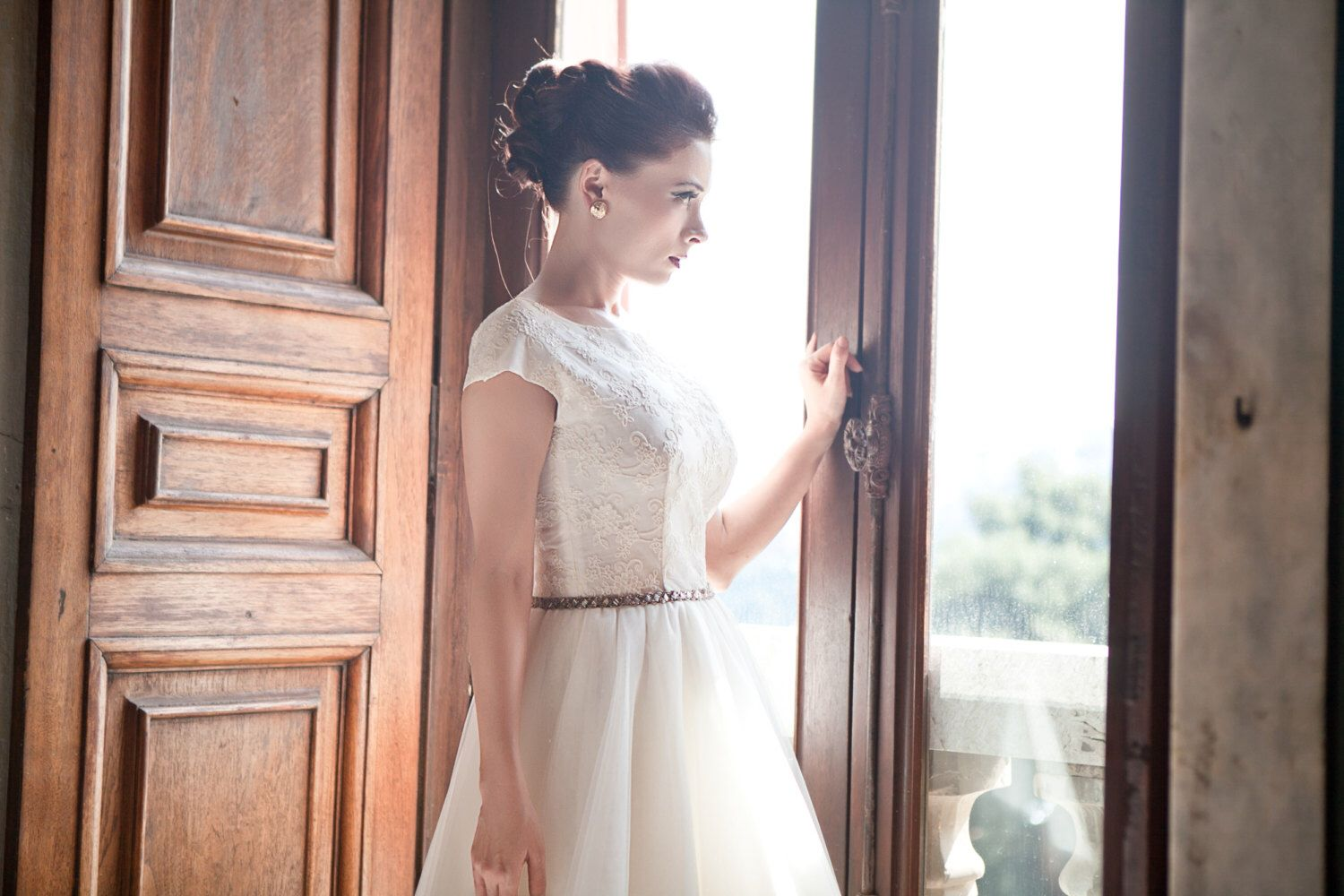50s wedding dress lace  Tea length lace wedding dress s tulle wedding gown s ivory