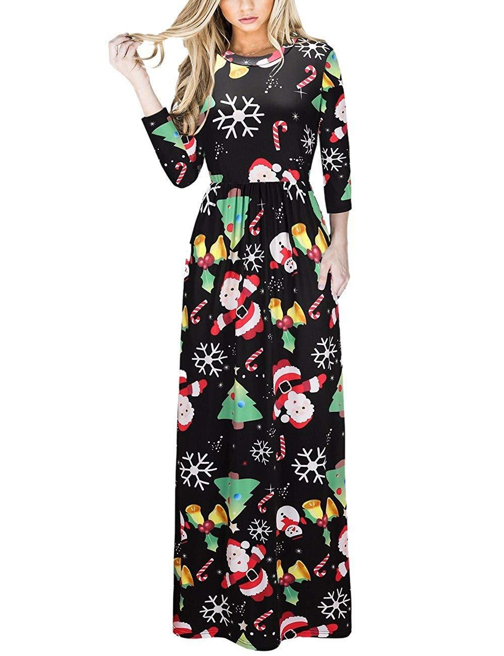 07caedc05ab8 Ruiyige Women's Christmas Dress Xmas Christmas Print Party Ugly Christmas  Long Maxi Dress