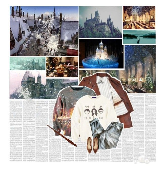 Christmas was coming. One morning in mid-December, Hogwarts woke to find itself covered in several feet of snow. by lejournaldessecrets on Polyvore featuring мода, Golden Goose, H&M, Christmas and harrypotter