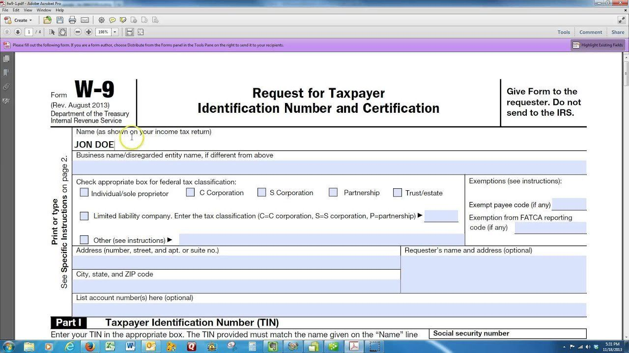 Form W 9 Fillable How to Fill Up form W 9 in 2020