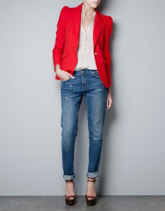 CARRIE RED BLAZER  Look red hot this Winter in our bright red Carrie blazer. Team with ripped jeans for a laid back classy look #red #blazer