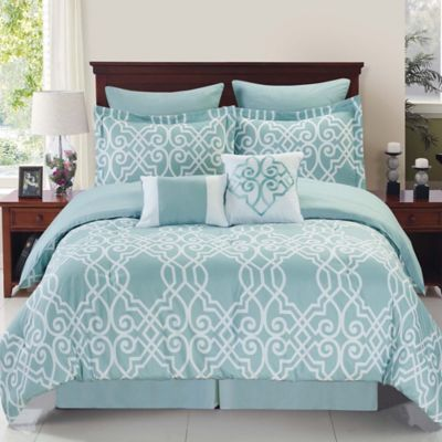 Superior Bed Bath U0026 Beyond Dawson Reversible 8 Piece Queen Comforter Set In  Blue/White