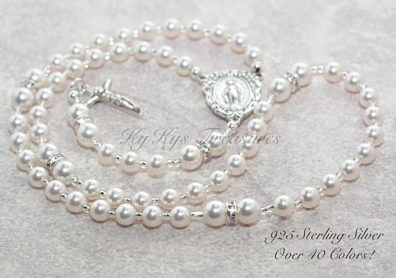 Baptism Rosary Necklace Baby Rosary Pearl Rosary Baptism Gifts Baby