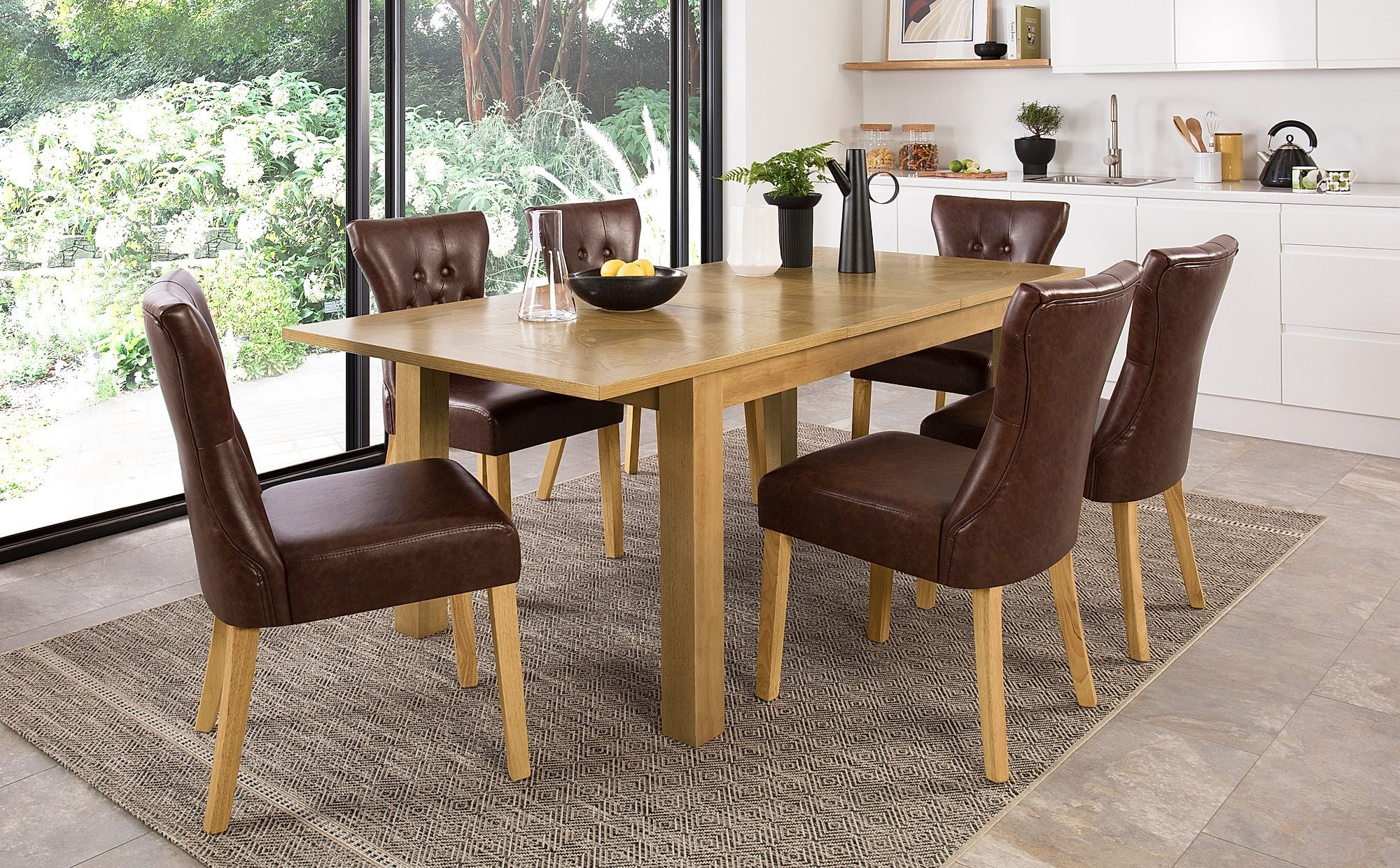Madison 150 200cm Oak Extending Dining Table With 6 Bewley Club