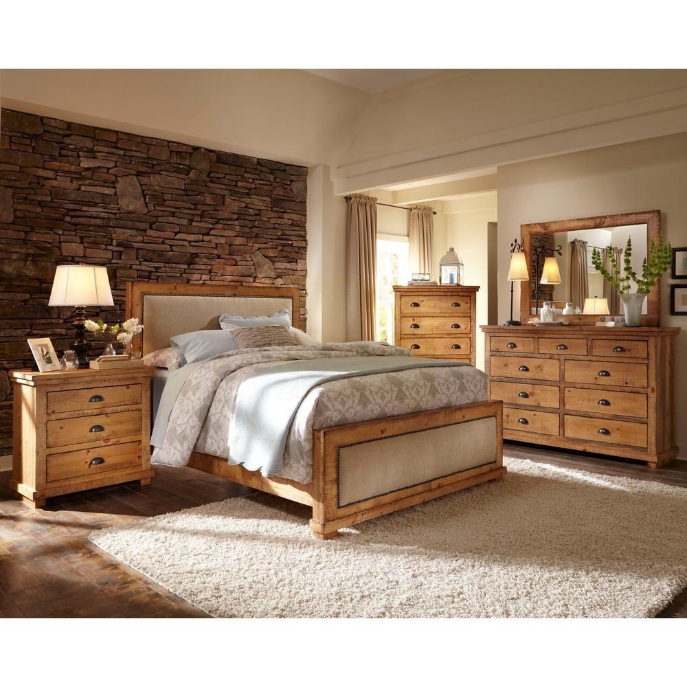 Progressive Furniture Willow 9 Drawer Distressed Pine Dresser In