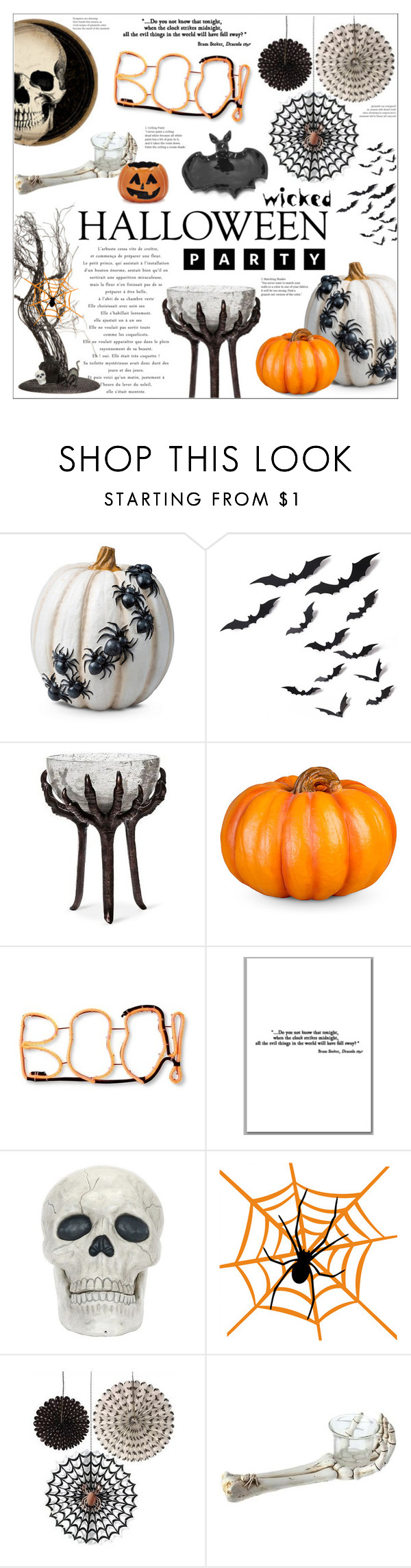 """""""Halloween Party Decor"""" by leinapacheco ❤ liked on Polyvore featuring interior, interiors, interior design, home, home decor, interior decorating, Improvements, Sur La Table, Halloween and Halloweenparty"""