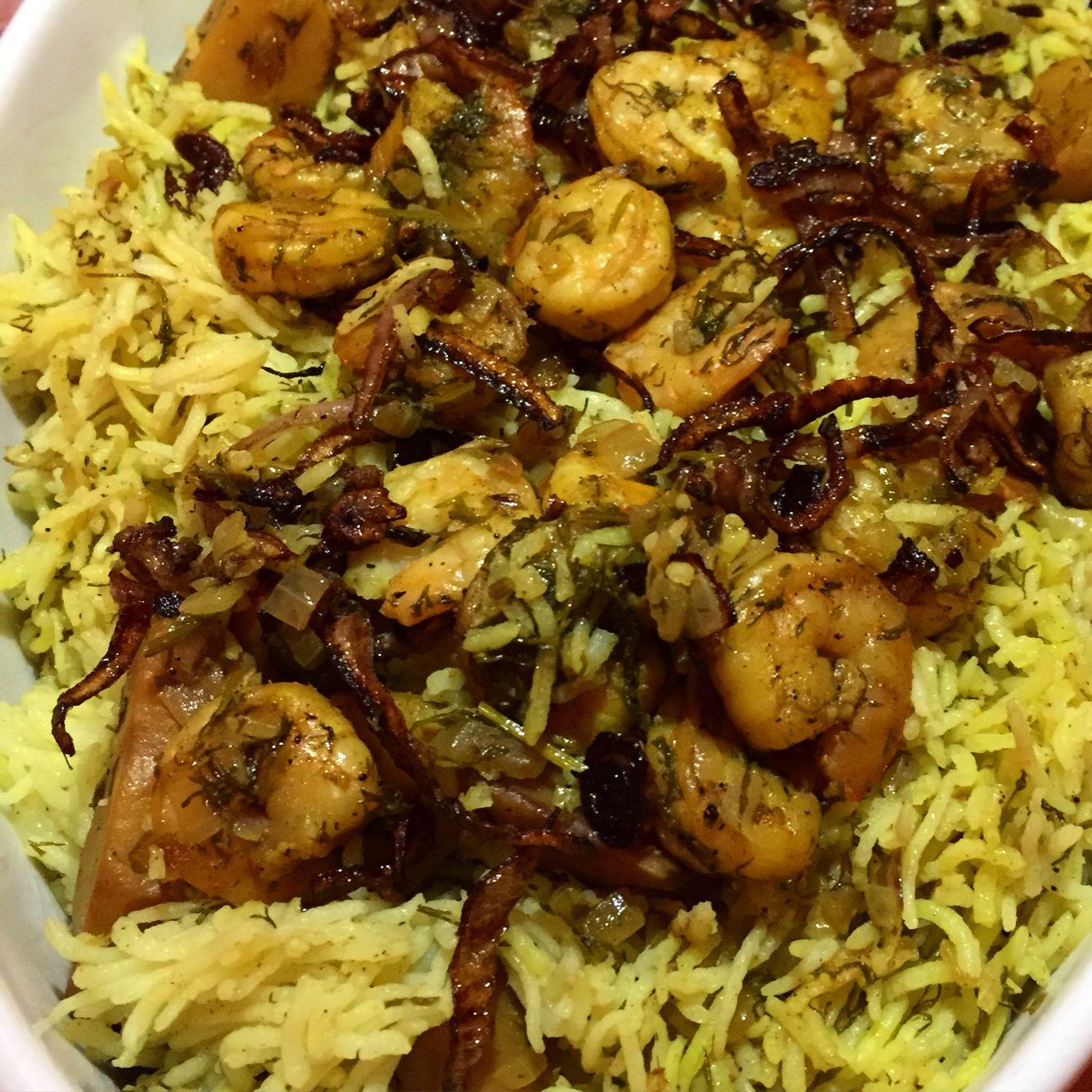 مربين بالفقع والشبنت Shrimp Pulao With Truffles And Dill Middle Eastern Recipes Food Food And Drink