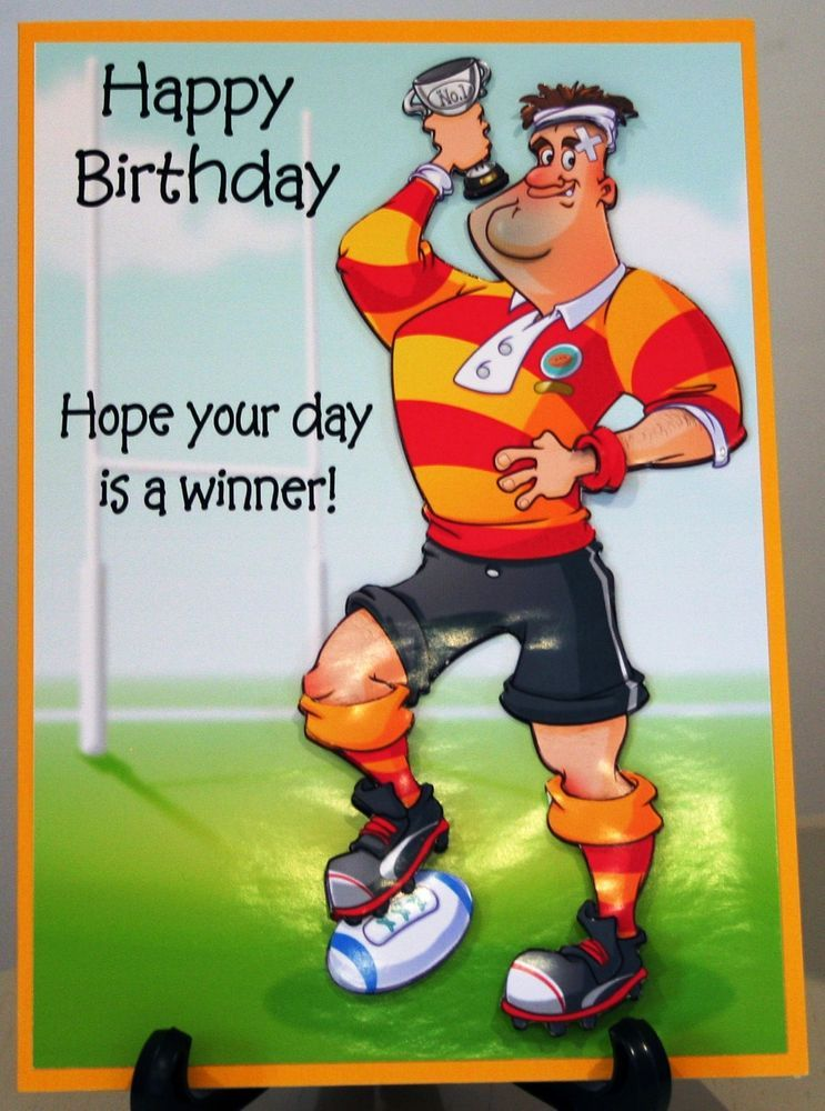 Handmade Personalised Rugby Sport Male Birthday Age Greeting Card In 2020 Rugby Birthday Funny Birthday Cards Birthday Card Maker