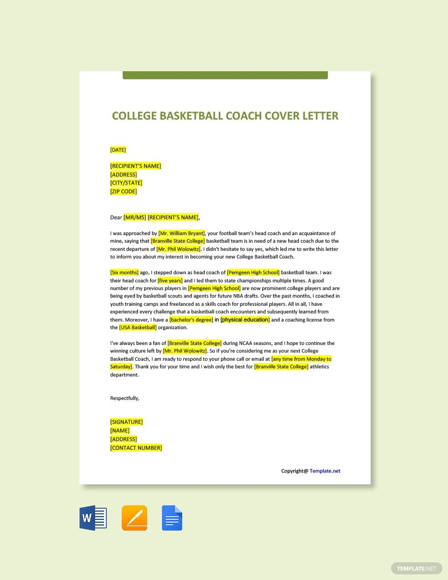 Free College Basketball Coach Cover Letter Template #AD, , #affiliate, #Basketball, #College, #Free, #Coach, #Template