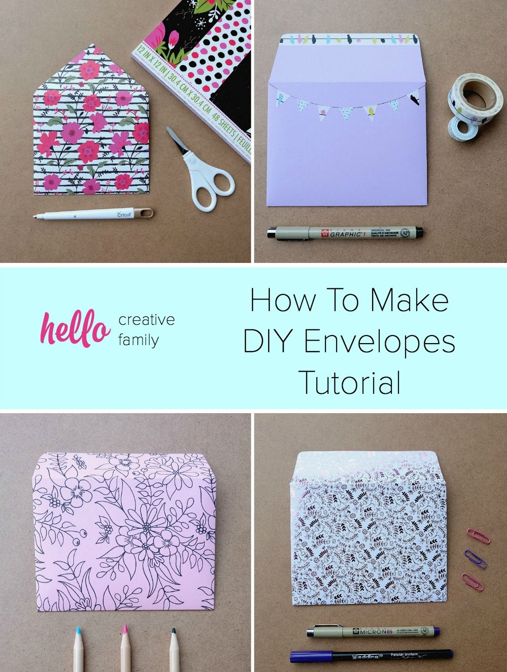 How to make diy envelopes tutorial stationery pinterest
