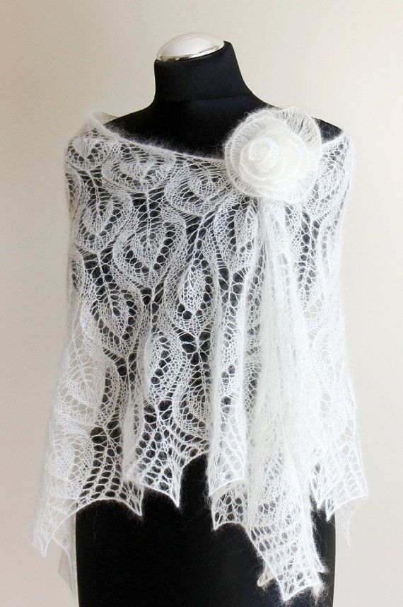 Wedding Lace shawl, Handknitted Bridal Shawl, Ivory stole, Mohair ...