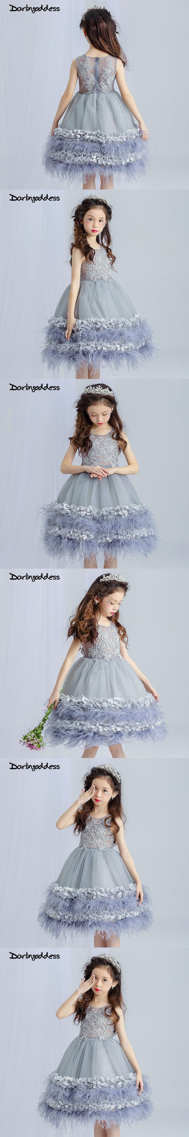 grey lace d rose flower girl dresses ball gown formal first