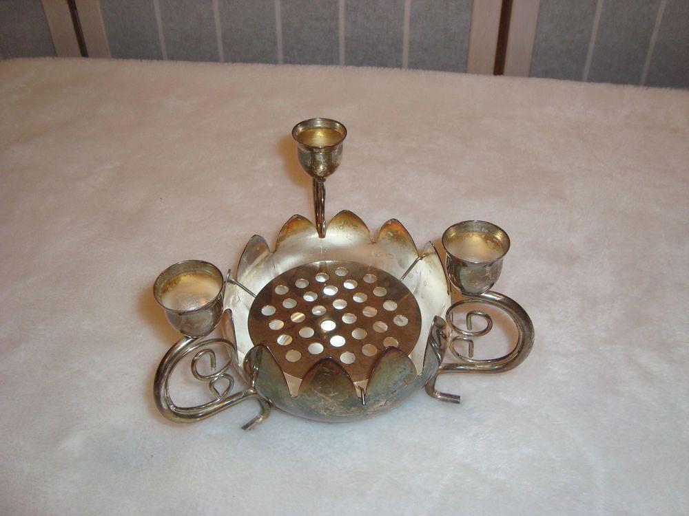 Vintage Godinger Silver Art Lotus Cut Flower Centerpiece Frog Vase & Candelabra #Godinger