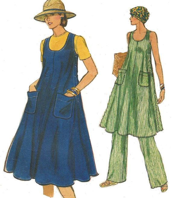 70s Womens Tent Dress or Tunic u0026 Pants Vogue Sewing Pattern 9508 Size 12 Bust 34 Very Easy Vogue Summer Side Buttoned Dress Pattern  sc 1 st  Pinterest & 70s Womens Tent Dress or Tunic u0026 Pants Vogue Sewing Pattern 9508 ...